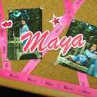 Pink Customized Printed Ribbons on Birthday memoboard