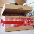 Red satin Customized Printed Ribbons on Recipe Box
