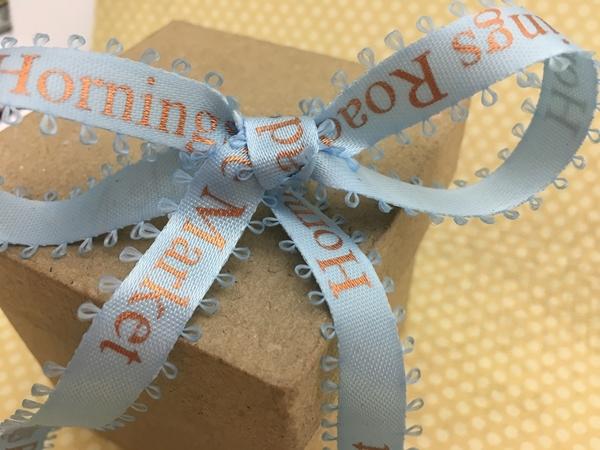 Light Blue Picot Edge Custom Printed Ribbons